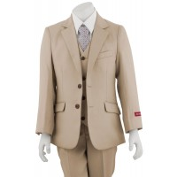Boy's Tan Wedding Suit 3 Piece