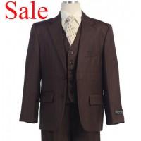 Boy's Brown Striped 3 Piece Graduation Suit On Sale!!