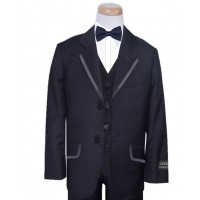 Boy's Navy Suit With Satin Trim