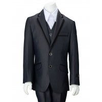 Boy's Blue-Gray Suit With Satin Trim