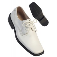 Boy's White Leather Lace-up Shoe