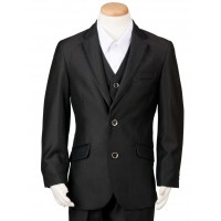 Boy's 3 Piece Black Suit with Satin Trim Husky