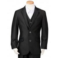 Boy's 3 Piece Black Suit with Satin Trim Husky