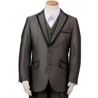 Boy's 3 Piece Gray Suit with Satin Trim Husky