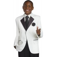 Boy's Communion White Suit With Black collar