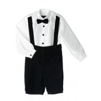 Boy's Black Velvet Button up with Suspenders