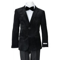 Boy's Black Velvet Blazer