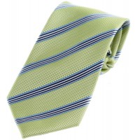 Boy's Green Striped Zipper Tie 14""