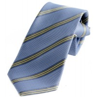 Boy's Light Blue Striped Zipper Tie 14""