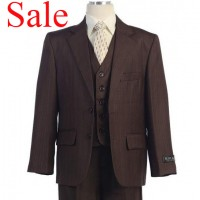 Boy's Brown Striped 3 Piece Suit On Sale!!