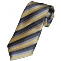 Boy's Grey/Yellow Striped Zipper Tie 14""
