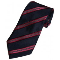 Boy's Navy Striped Zipper Tie 14""
