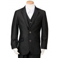 Boy's 3 Piece Black Suit
